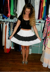 rachel zoe skirt, asos crop top, shoe mint flats