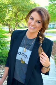 ashley from lsr, the home tee, madewell necklace, boyfriend blazer