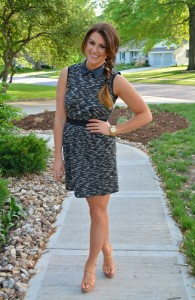 mixed media dress, nude sandals, ashley from le stylo rouge