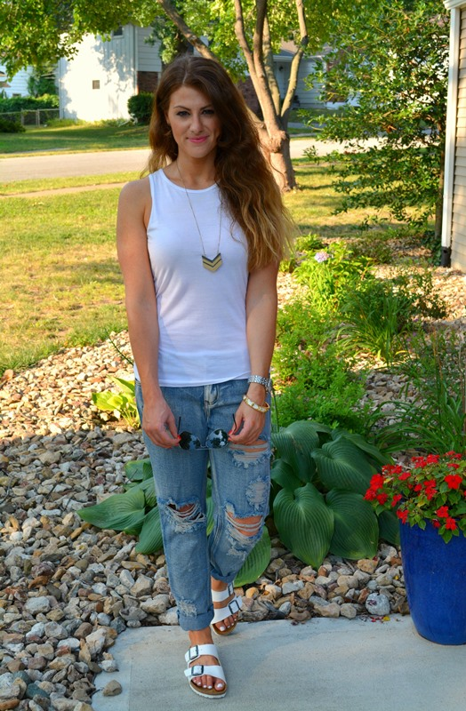 white birkenstocks, white asos tank, one teaspoon awesome baggies, madewell arrowstack necklace, ashley from lsr