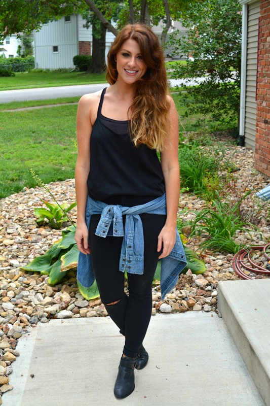 black asos tank, black topshop jamie jeans, jeffrey campbell everly booties, chambray shirt, ashley from lsr