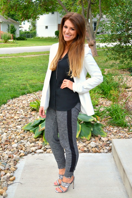 old navy tuxedo sweats, topshop sandals, white theory blazer, express portofino blouse, ashley from lsr