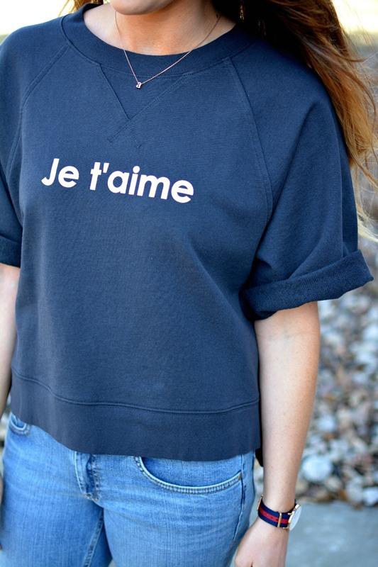 ashley from lsr, madewell je t'aime sweatshirt