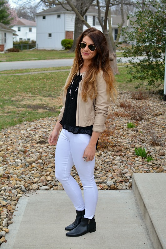 ashley from lsr, duo axil boots, gap resolution white jeans, beige leather jacket