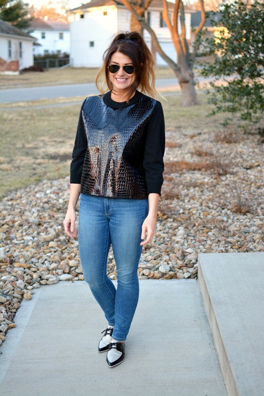ashley from lsr, topshop croc patent sweatshirt, gap resolution jeans, zara tuxedo flats