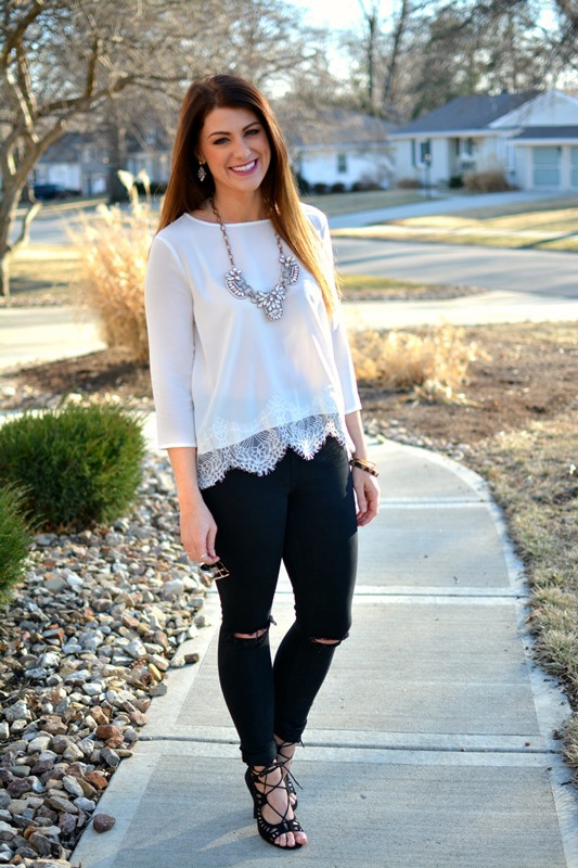 ashley from lsr, bb dakota white samuela cropped lace top, topshop black moto jeans, black lace up sandals