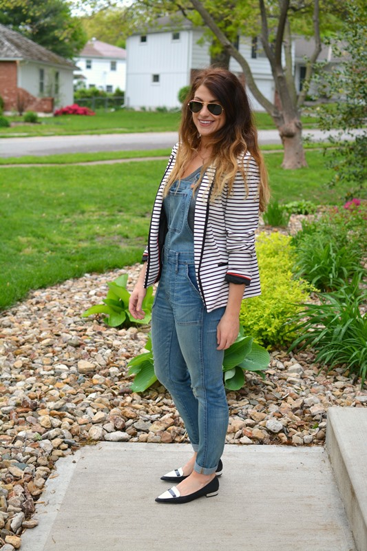 ashley from lsr, madewell overalls, striped blazer, aldo chaelle flats