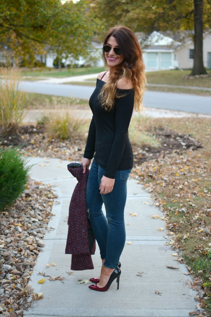 Ashley from LSR in a black off the shoulder top and Sincerely Jules Detroit jeans.