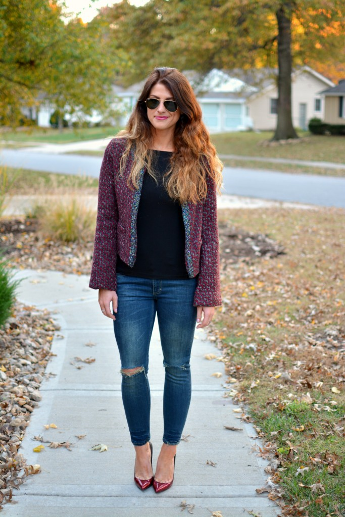 Ashley from LSR in a tweed jacket and Sincerely Jules Detroit jeans.
