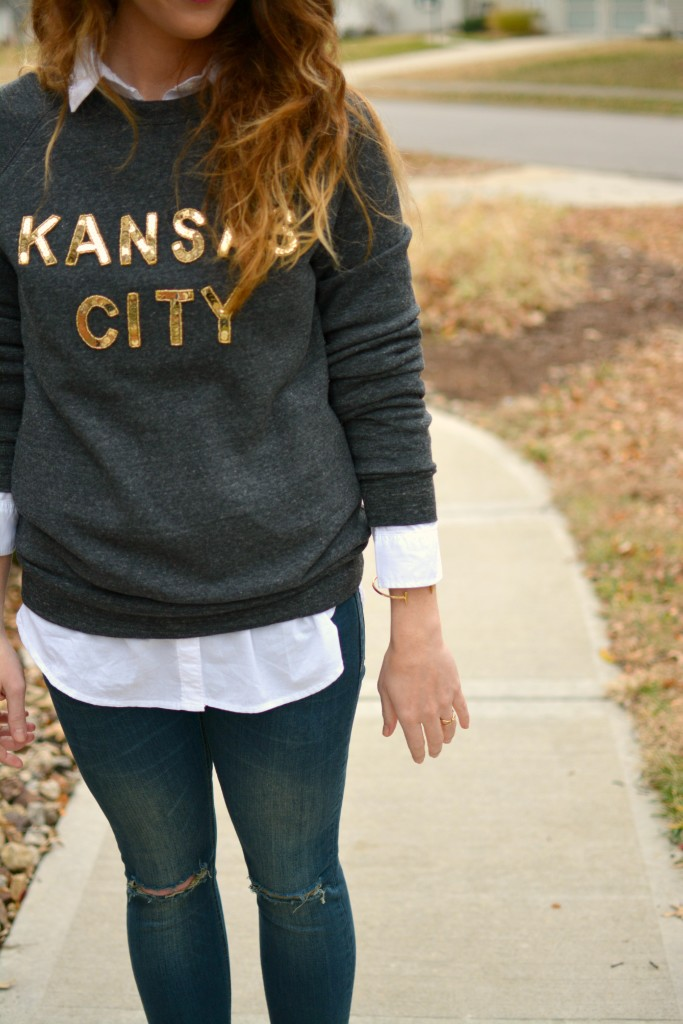 Ashley from LSR in a LocalE sweatshirt and Sincerely Jules jeans