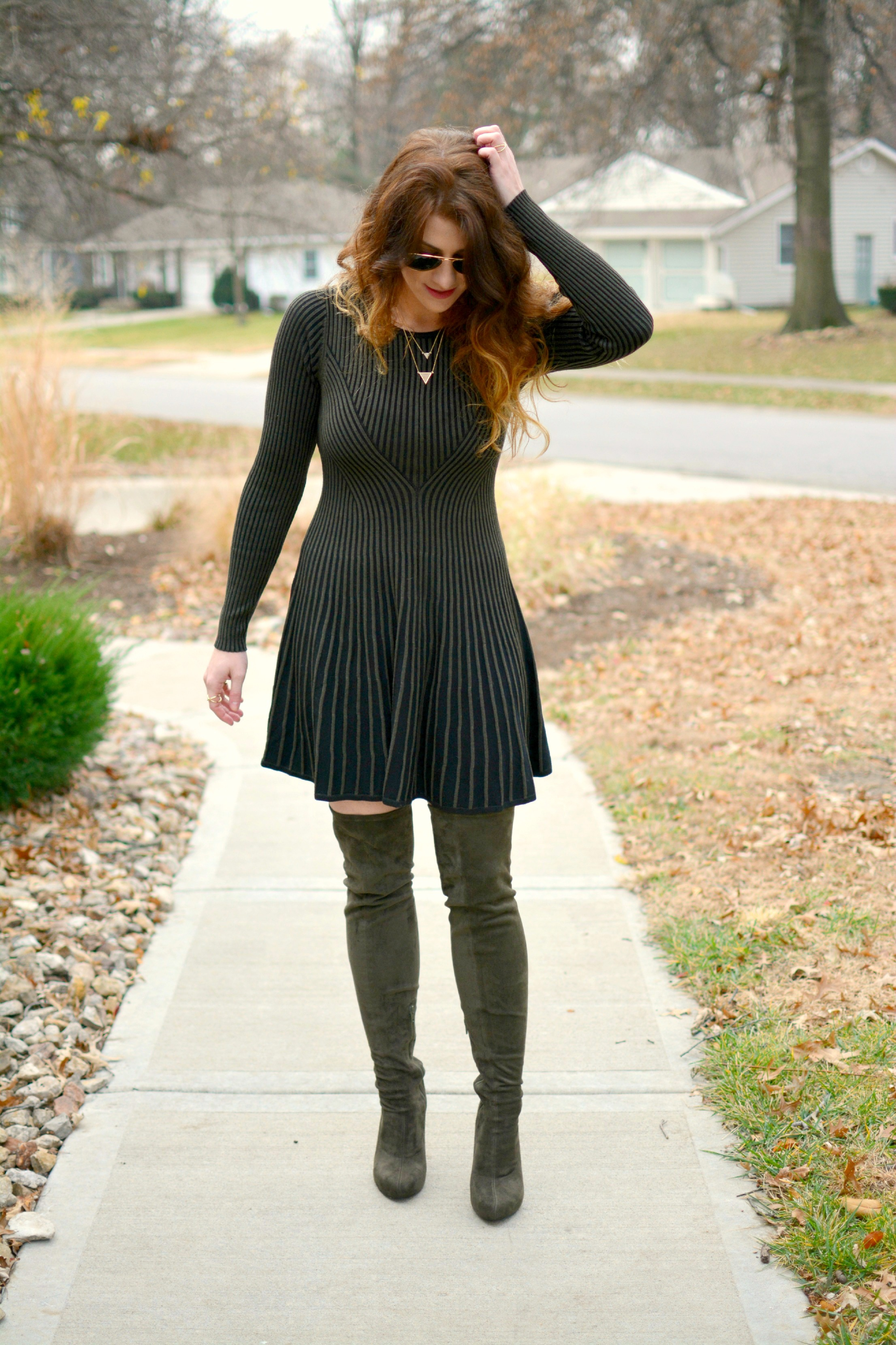 81725ecc5f4 Ashley from LSR in an Express sweater dress and over-the-knee olive green