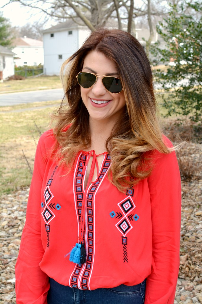 Ashley from LSR in a red peasant blouse