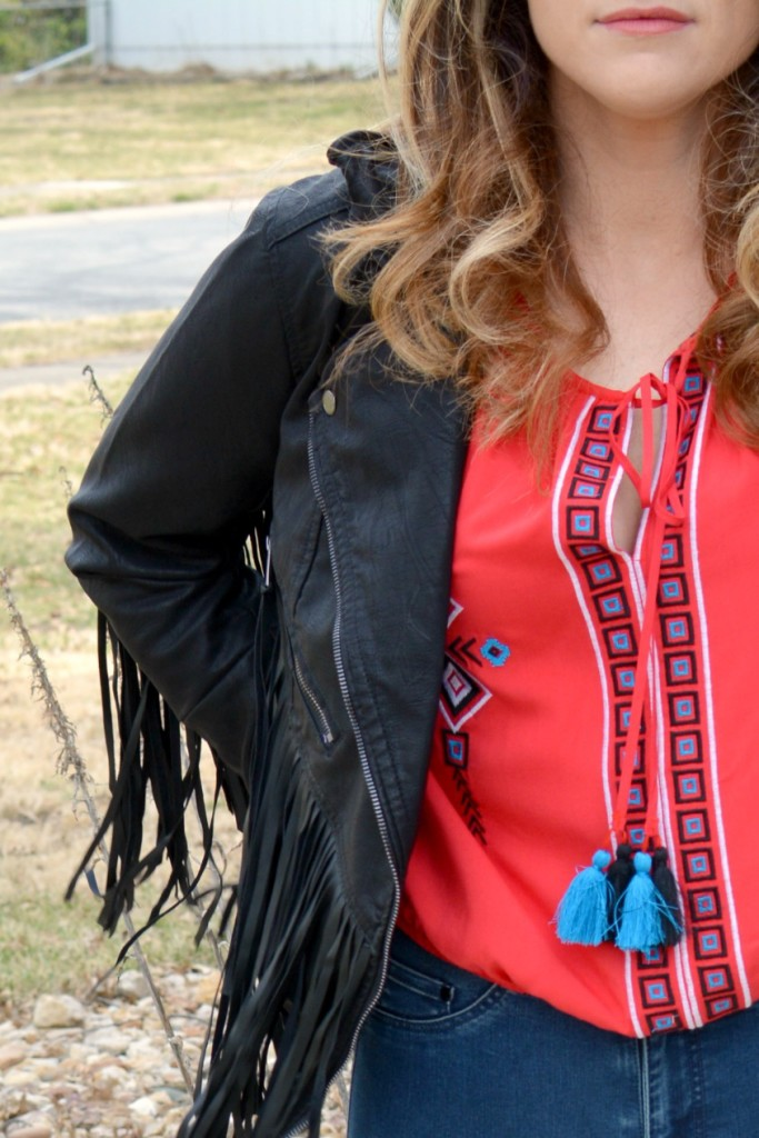 Ashley from LSR in a fringe faux leather jacket and peasant blouse