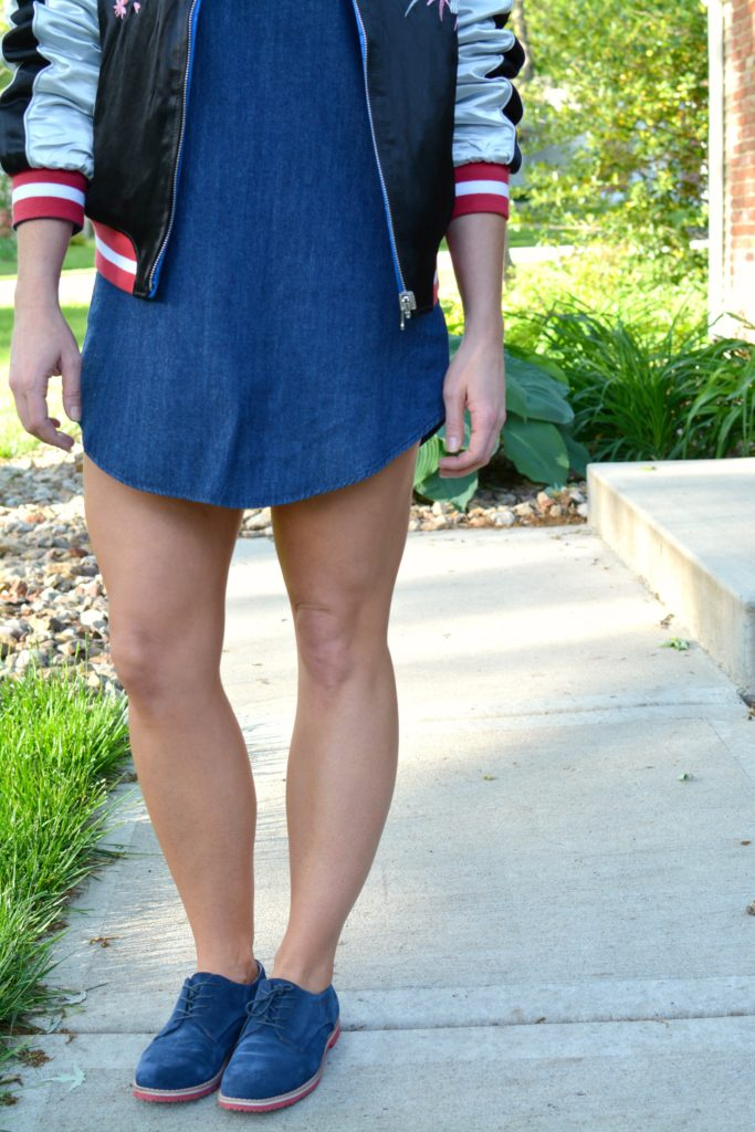 Ashley from LSR in a denim dress and blue suede oxfords