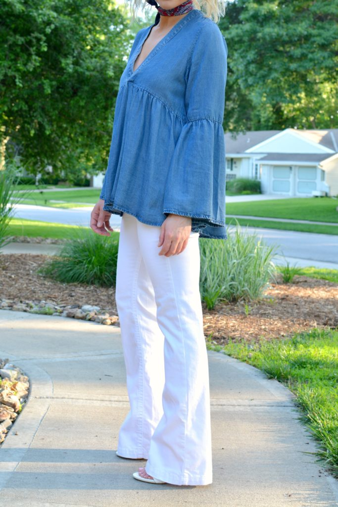 Ashley from LSR in a denim peasant top and white Silver Jean Co flares