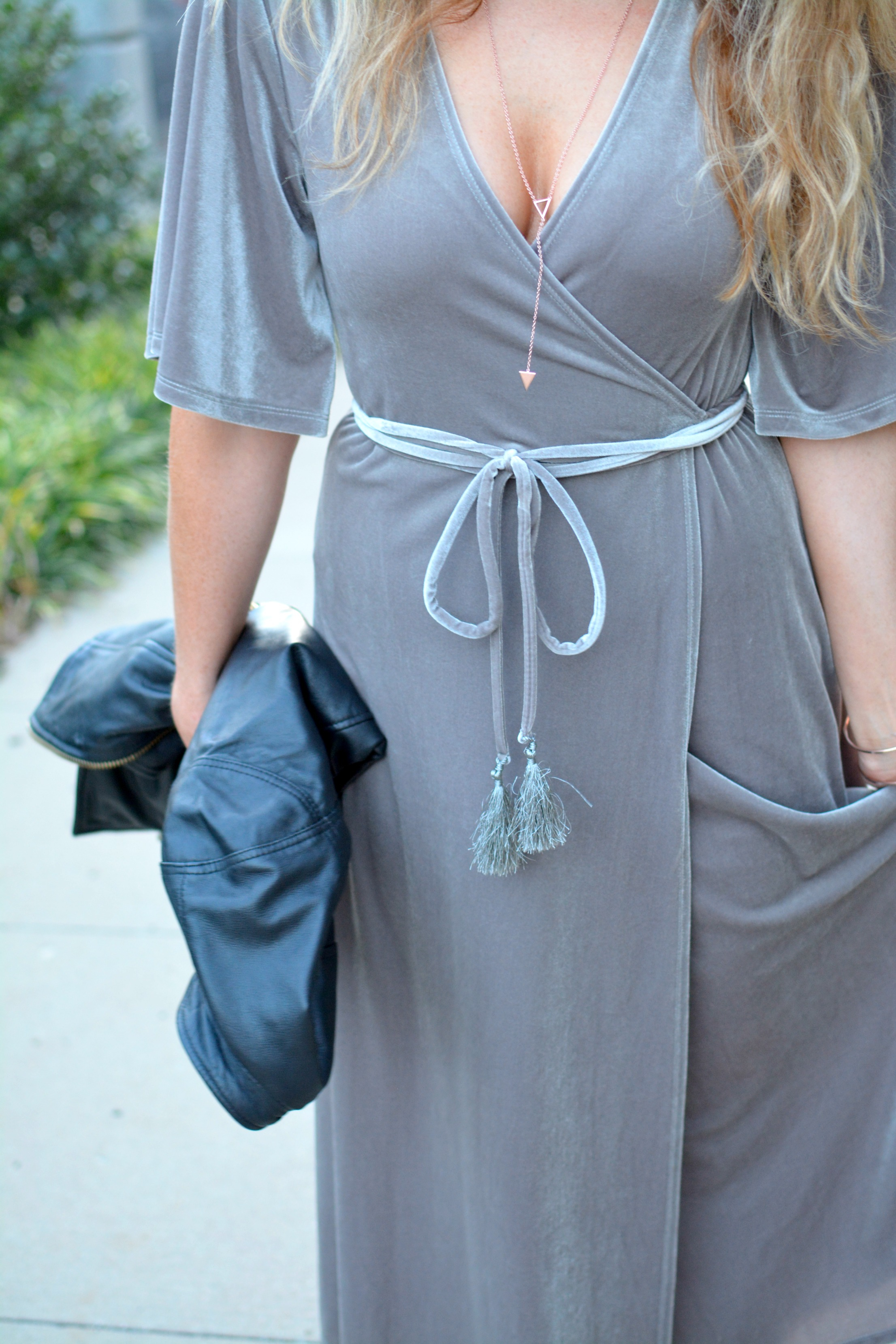 Ashley from LSR in a gray velvet dress