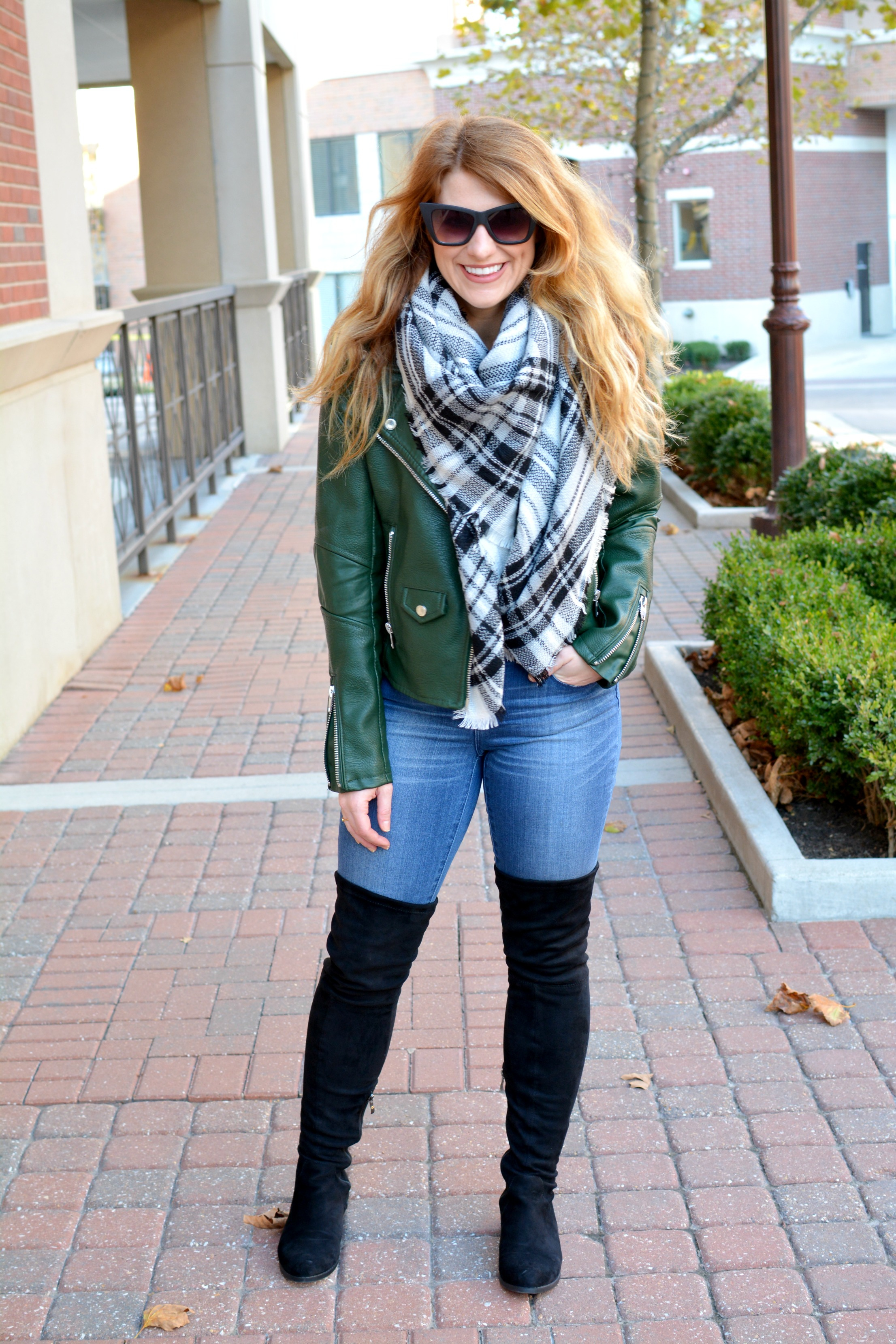 Ashley from LSR in the best faux leather jacket from Blank NYC and Catherine Malandrino thigh high boots