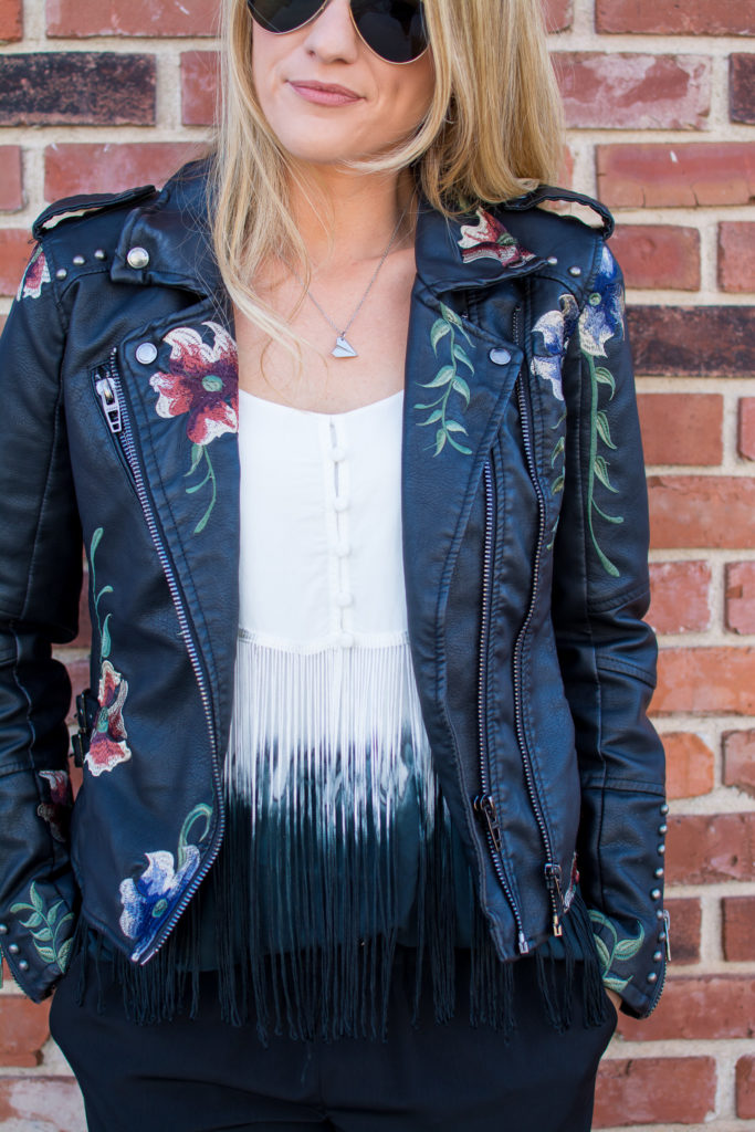 Embroidered Faux Leather Jacket + Fringe Tank | Ashley from LSR