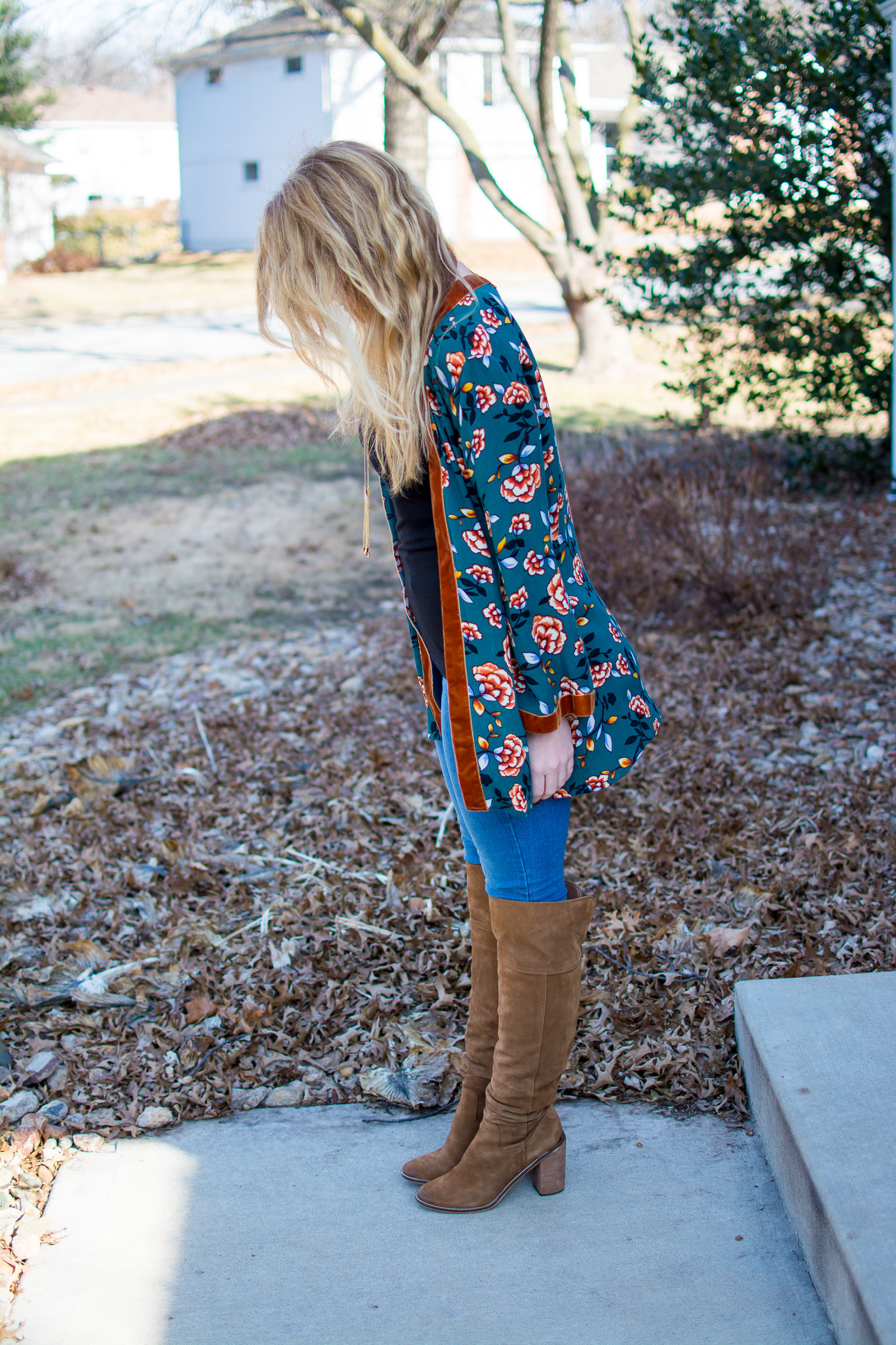 Ashley from LSR in a printed kimono and Steve Madden suede over the knee boots