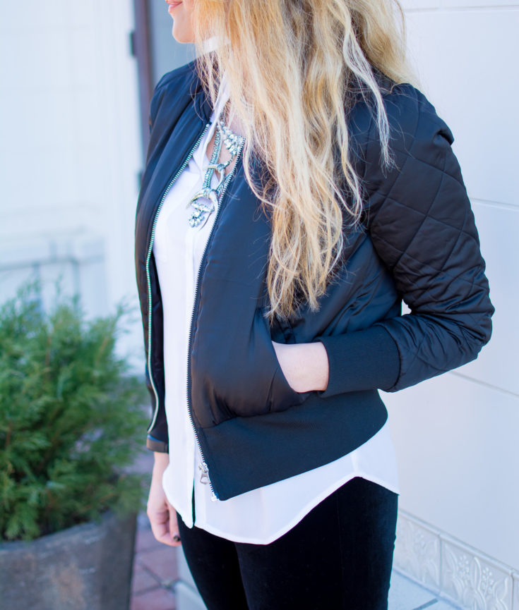 Ashley from LSR in velvet leggings, a satin bomber jacket, and a statement necklace for a casual valentine's day outfit