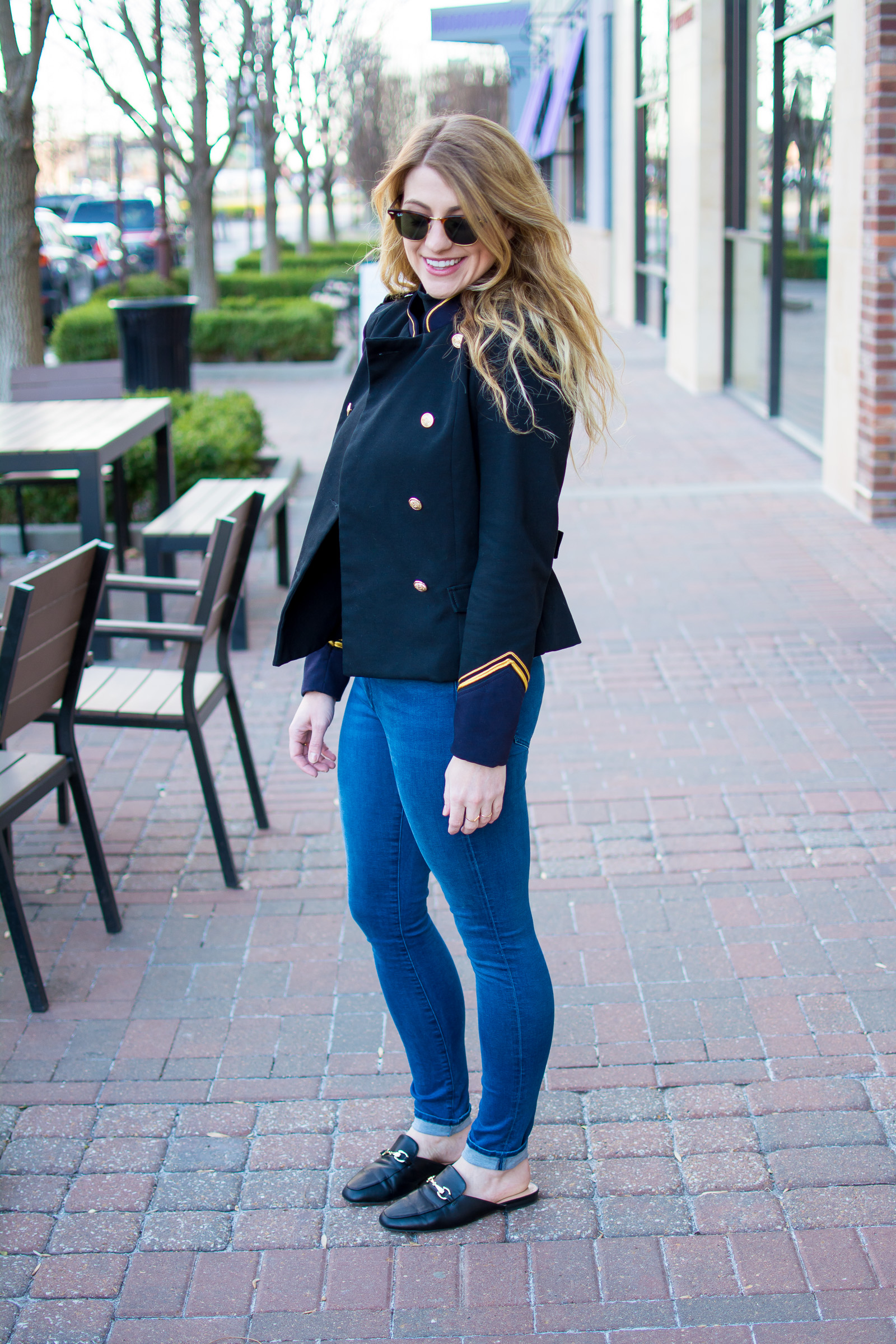 A Military Jacket with Skinny Jeans and Leather Mule Loafers. | Ashley from Le Stylo Rouge