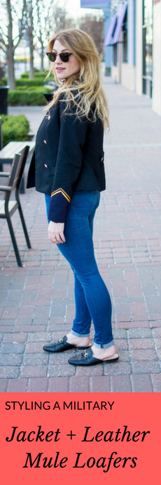 Styling a Military Jacket and Leather Mule Loafers. | Ashley from Le Stylo Rouge