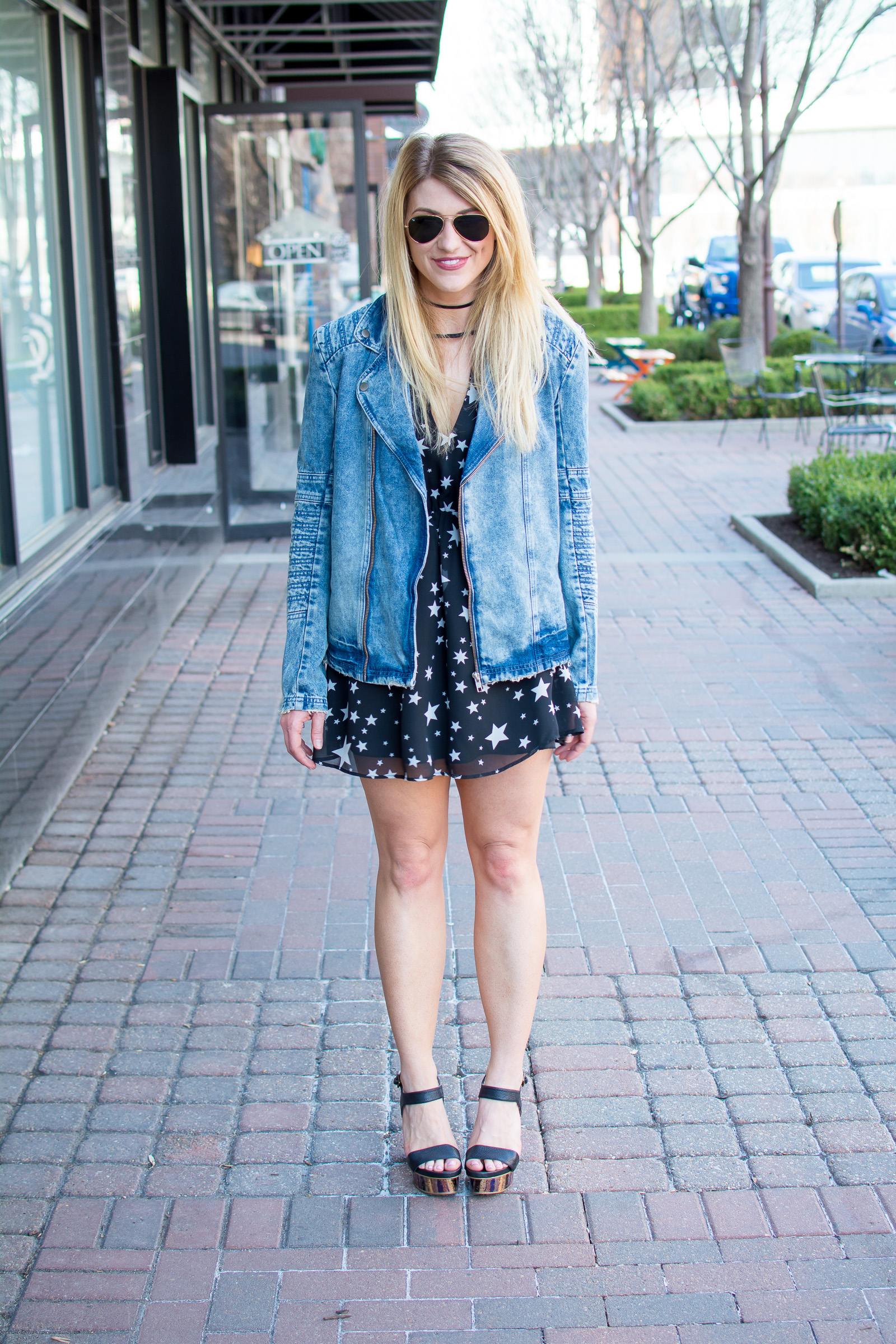 Spring Outfit Idea: Star Print Dress with a Men's Denim Jacket. | Ashley from Le Stylo Rouge