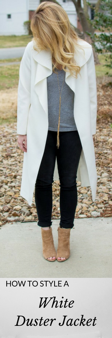 How to Style a White Duster Jacket. | Ashley from Le Stylo Rouge