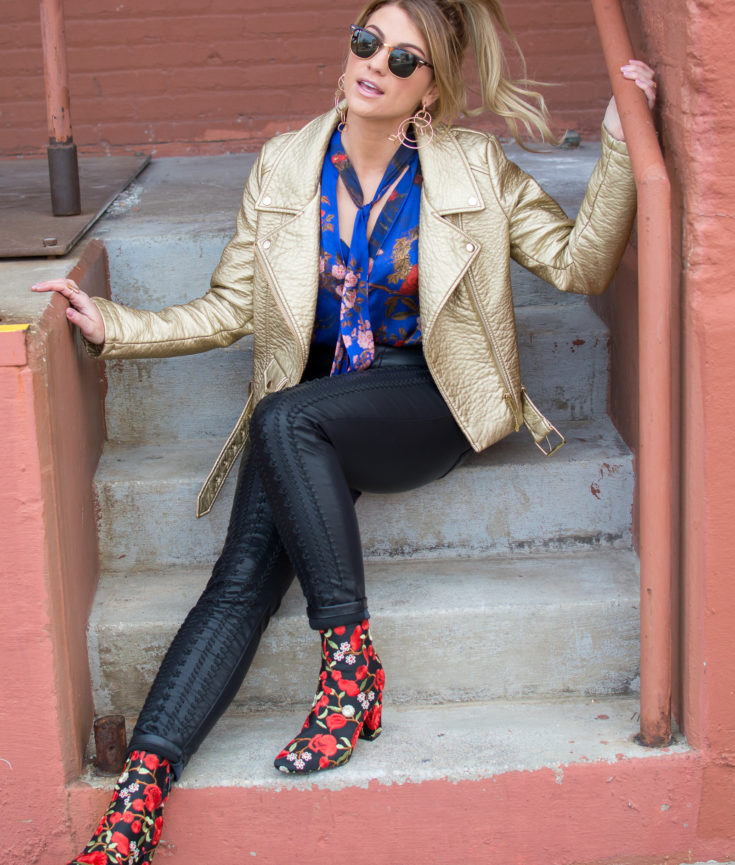Gold Leather Jacket + Embroidered Boots. | Ashley from Le Stylo Rouge