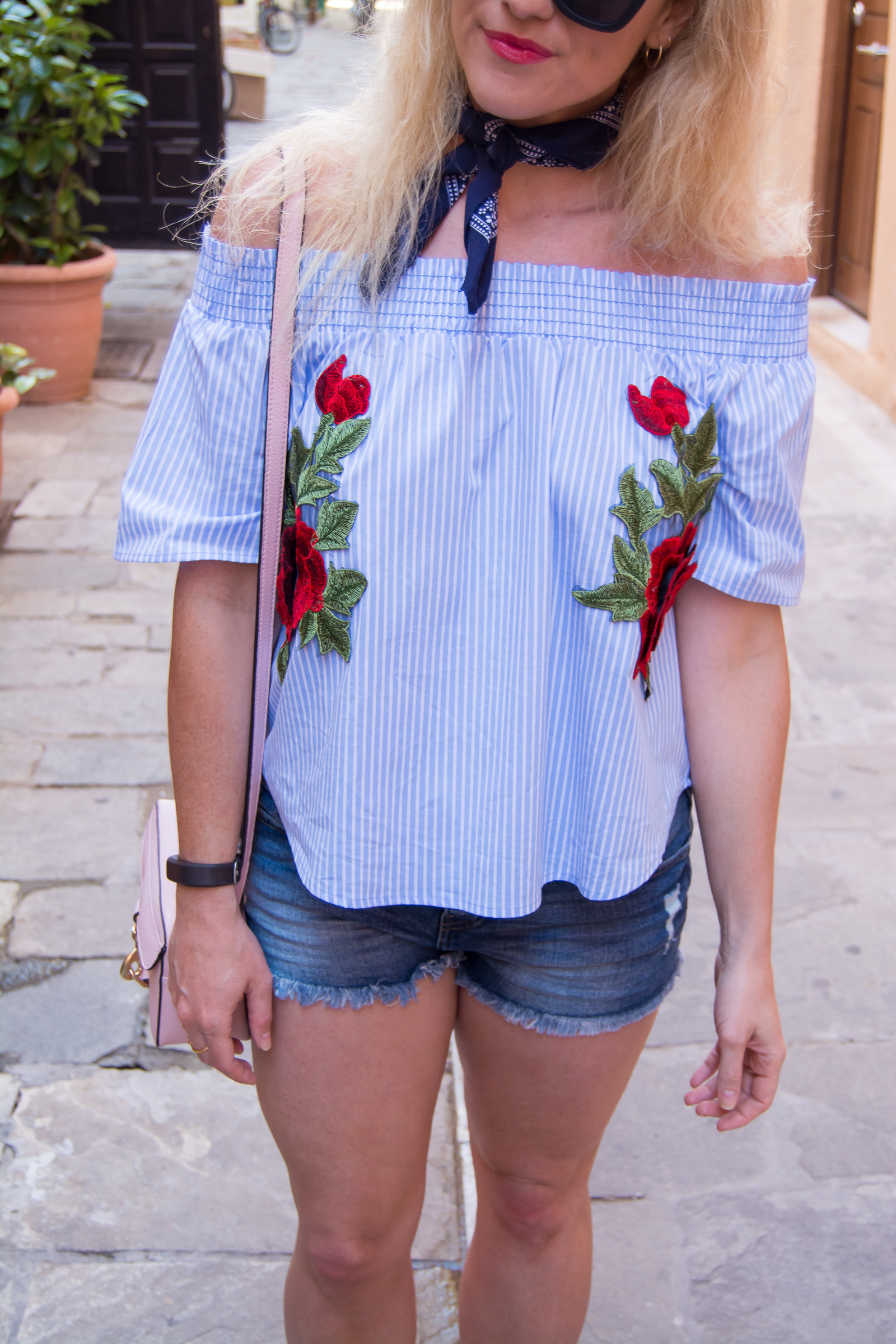 What to Wear in Greece: Off-the-Shoulder Striped + Embroidered Blouse. | Ashley from Le Stylo Rouge