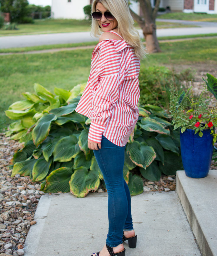 Wearing a Striped Button-up Off-the-Shoulder.   Ashley from LSR