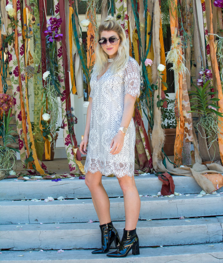 Wearing a White Lace Dress for Early Fall. | Ashley from LSR
