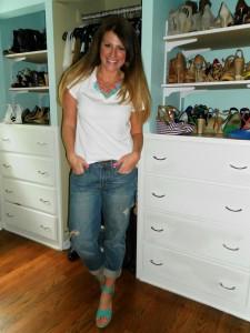 white tee, statement necklace, boyfriend jeans, wedges, bauble bar