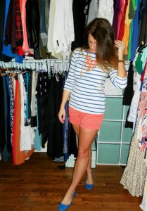 striped tee, coral shorts, blue flats