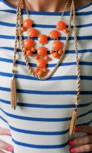 statement necklace, orange necklace, tassel necklace