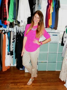 pink blouse, khakis, gladiator flats, bauble bar necklace