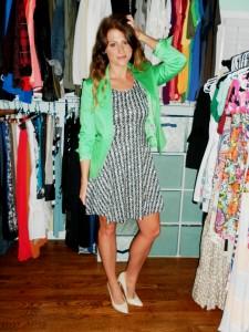 green blazer, printed dress, nude pumps