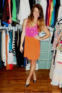 orange and pink silk, colorblock dress, wedges