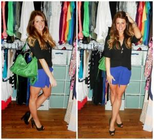 green balenciaga, black top, blue shorts, glitter pumps