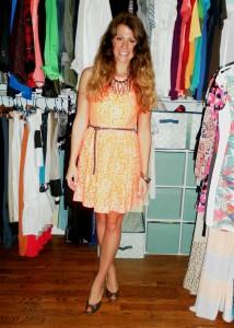 orange lace madewell dress, michael kors wedges