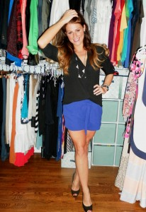 black top, blue shorts, glitter pumps