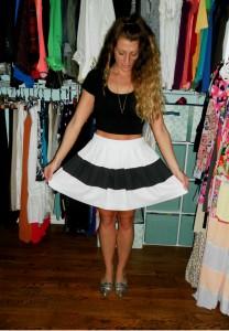 rachel zoe skirt, asos crop top, shoe mint flats