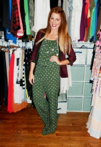 green jumpsuit, burgundy blazer
