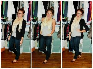 black blazer, tan scarf, jcrew flats
