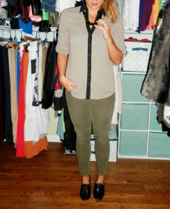 olive cords, portofino blouse, patent leather brogues