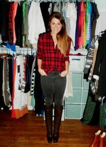 lumberjack plaid shirt, faded black jeans, tall brown boots