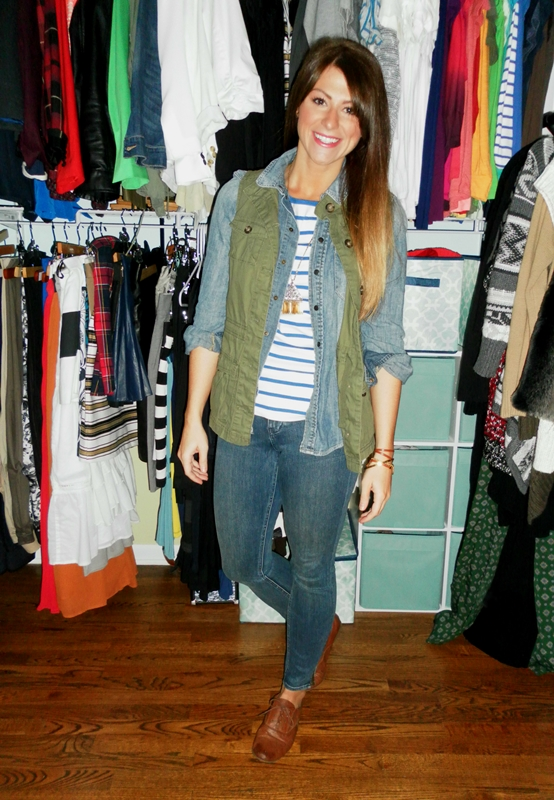 striped tee, chambray shirt, military vest, brogues