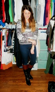 riding boots, marled sweater