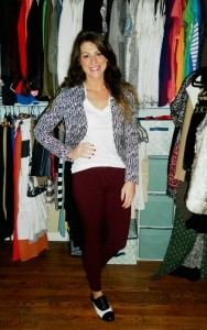 burgundy trousers, black and white brogues, printed blazer