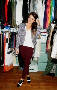 burgundy trousers, black and white brogues, printed blazer